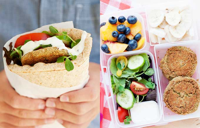 image: falafel inside a pita held by hands on the left and a falafel in a lunchbox with a salad and fruit on the right.