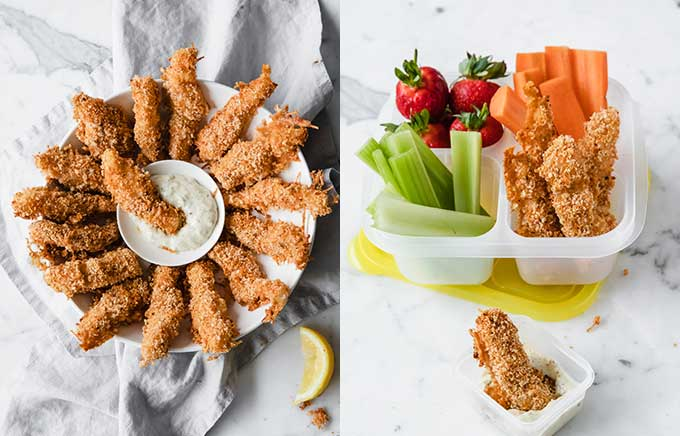 img: fish sticks on a platter with dipping sauce and in a lunchbox with celery, carrots, and berries.