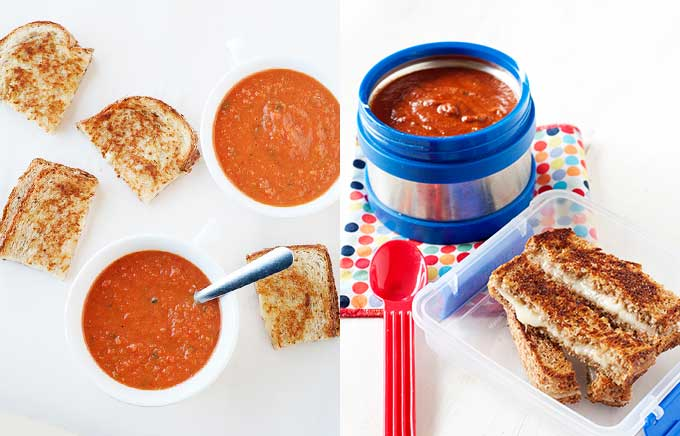 image: tomato soup in small bowls with pieces of grilled cheese on the left. Same tomato soup in a thermos container with sliced grilled cheese in a small plastic container.
