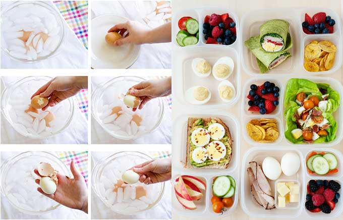image: hard boiled eggs being peeled on the left and 5 lunches in a lunchbox made with hard boiled eggs on the right.