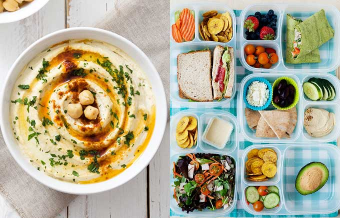 img: hummus in a bowl on the left and 5 lunchboxes with hummus lunches like salads, sandwiches, and avocado.
