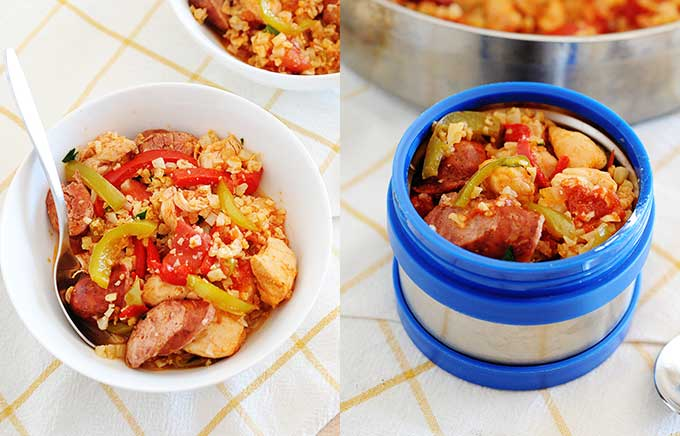image: low carb jambalaya made with cauliflower rice and chicken on the left and the same recipe inside a thermos container on t right.