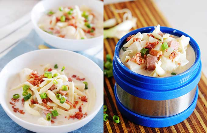 img: baked potato soup in a bowl and in a thermos