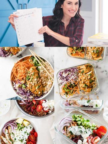 img: laura with printed meal plan chicken salad images lunches