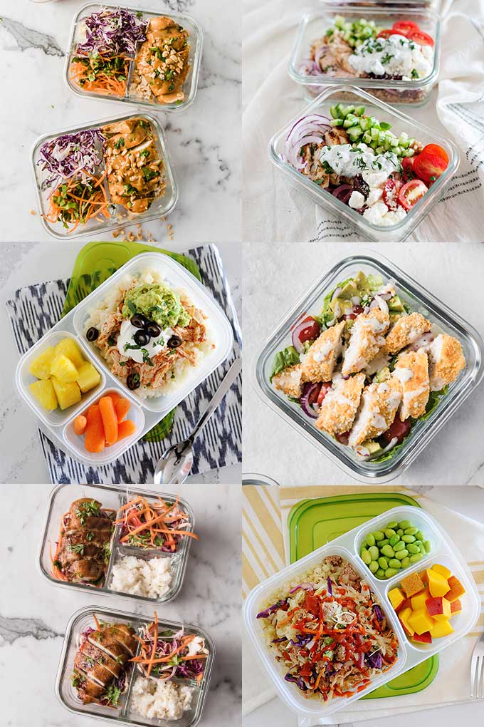 image: six meal prep lunches in containers