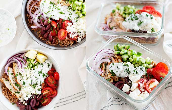 image: a bowl filled with grilled chicken, kalamata olives, feta cheese, tomatoes, and onions. Same ingredients on the right in a glass lunchbox container.