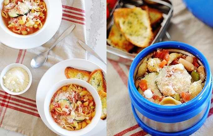 image: minestrone soup with pasta in a bowl on the left and the same minestrone soup in a blue thermos container with parmesan toasts on the side.