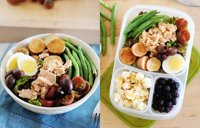 image: bowl of nicoise salad on the left and the same nicoise salad with potatoes, green beans, grilled salmon, and hard boiled egg on the right inside a lunchbox.