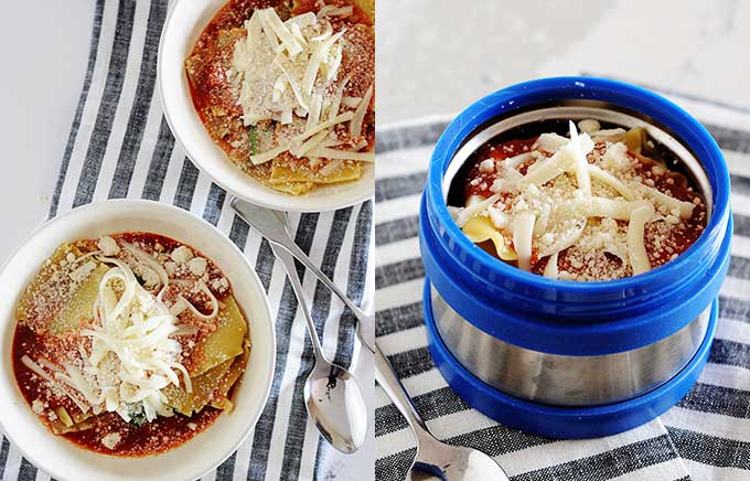 img: no bake lasagna in a bowl and inside a thermos