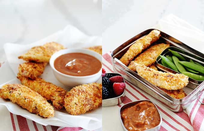 img: chicken tenders with dipping sauce on a plate and inside a lunchbox.