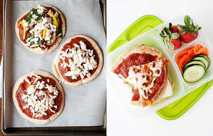 image: 3 pizzas made with a base of pita bread on the left and a sliced pita pizza inside a lunchbox with cucumber slices, carrots, and strawberries.