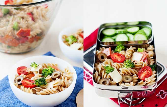 img: pasta salad in a bowl and in a lunch container
