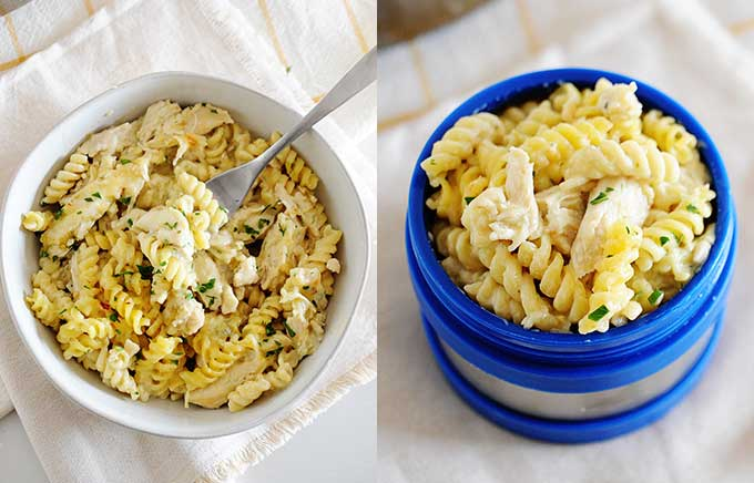 img: salsa verde chicken pasta in a plate and in a thermos container.