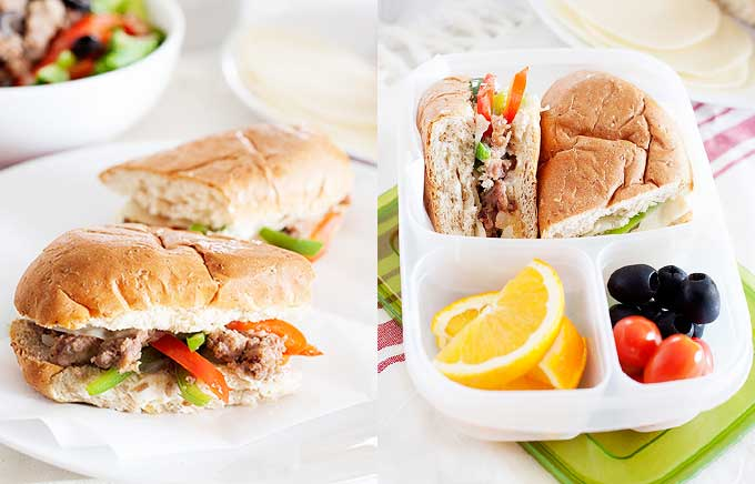 image: sausage and peppers hoagie on the left and packed in a lunch container with orange slices and olives on the right.