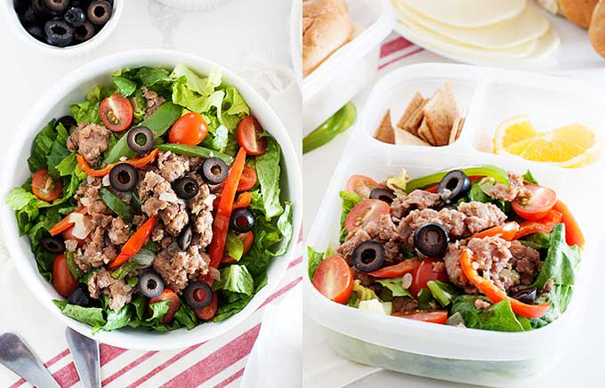 image: cooked crumbled chicken sausage topped salad bowl on left and the same salad on the right in a lunch container.