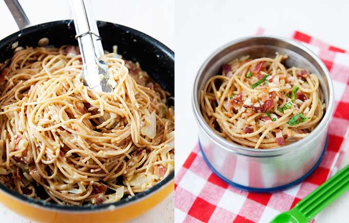 img: spaghetti carbonara in a pan with bacon and inside a thermos container.