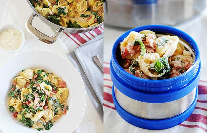 image: spinach tortellini in a bowl, skillet and thermos container