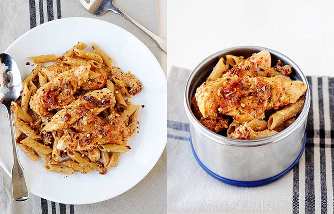 img: sun dried tomato pasta with chicken on a plate and inside a thermos container