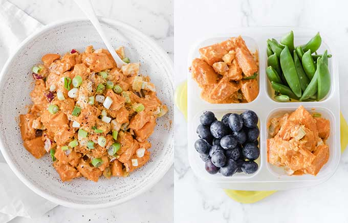 image: bowl of sweet potato salad on the left and the same salad inside a lunch box with blueberries and sugar snap peas.