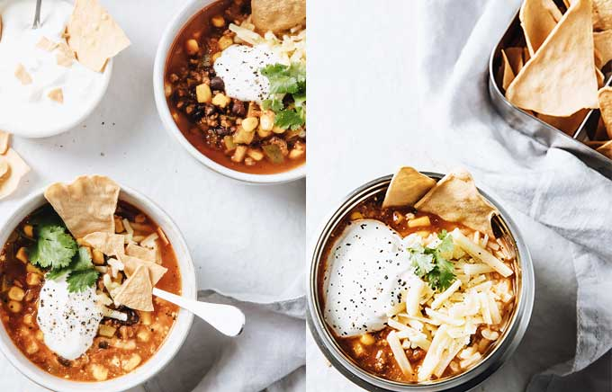 image: a bowl of taco soup on the left topped with tortilla chips and the same taco soup in a thermos container on the right.