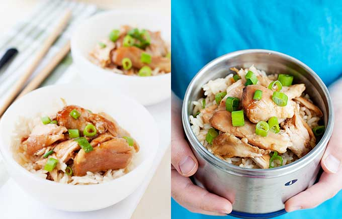 image: teriyaki chicken and rice in bowls and a thermos container.