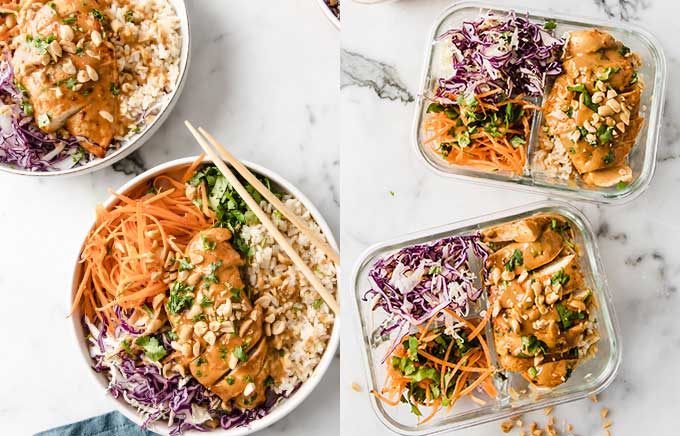 img: thai chicken bowls in a plate and served in a glass lunch container.