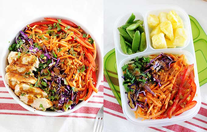 side by side image of thai chicken pasta salad in a bowl and lunchbox.