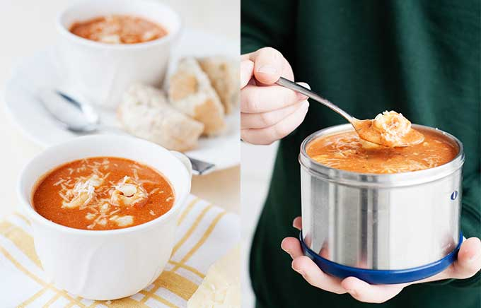 image: tomato tortellini soup in a small bowl on the left and the same soup inside a thermos container on the right.