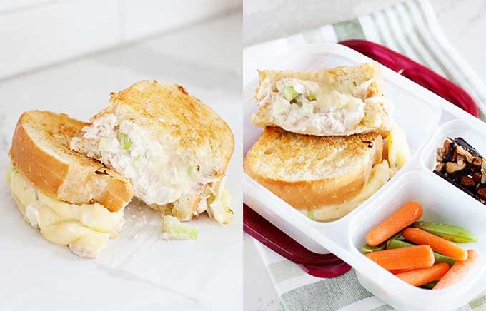 image: grilled tuna salad sandwich on a plate and in a lunch container.
