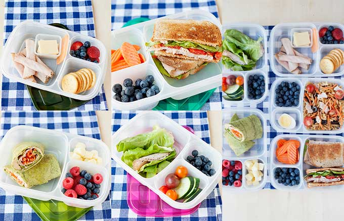 image: a selection of prepared lunches with deli turkey in lunch containers.