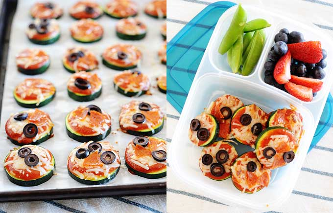 image: small pizza bites on zucchini slices on a baking sheet on the left and the cooked pizza bites on the right in a lunchbox with berries.