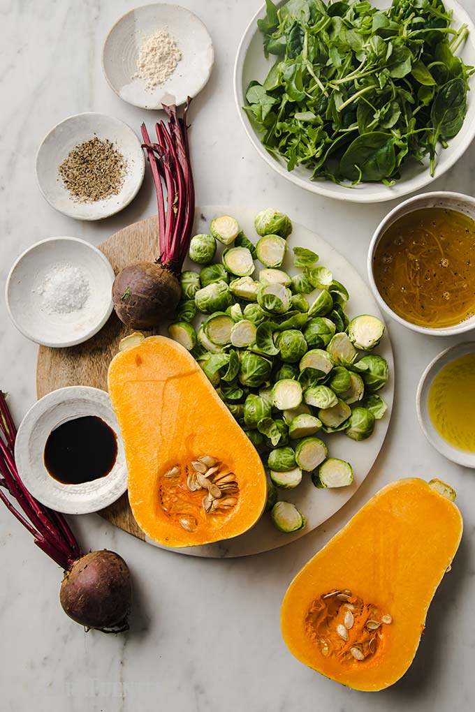 ingredients laid out for roasted vegetables and Balsamic dressing