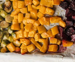 closeup view of chopped roasted Fall vegetables