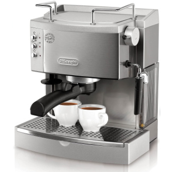 double espresso maker with two cups of coffee