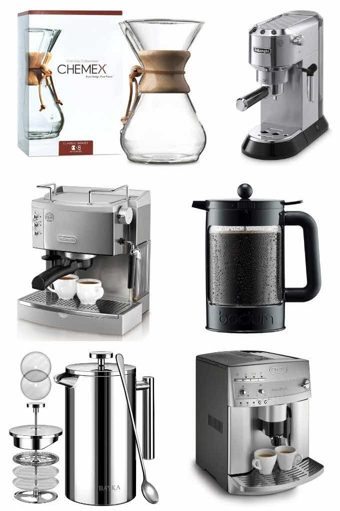 different coffee brewers in a collage