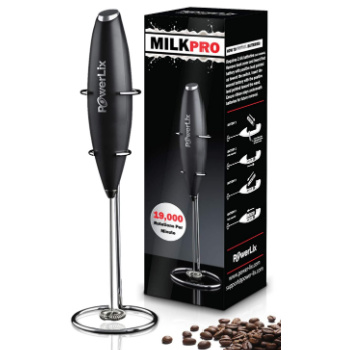 handheld coffee frother next to box