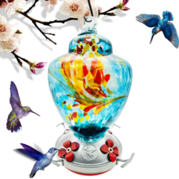 floral hummingbird feeder with colorful birds around it
