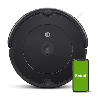robot vacuum with iphone and irobot app next to it