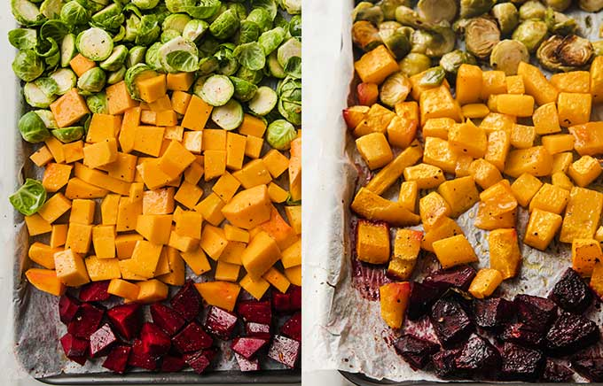 side by side images of sheet pan before and after roasting vegetables