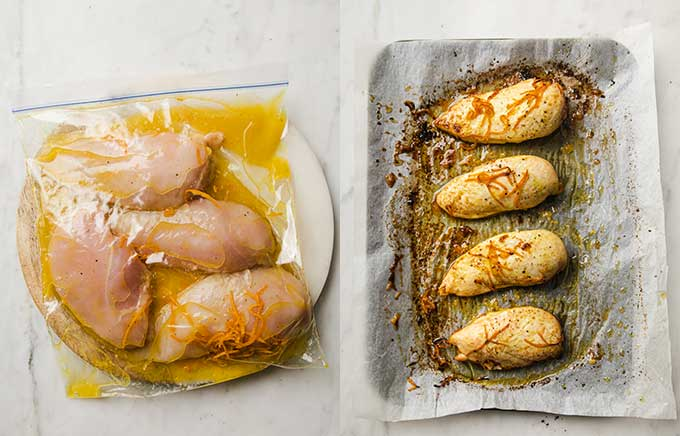 side by side images of chicken marinating and chicken after being baked on a sheet pan