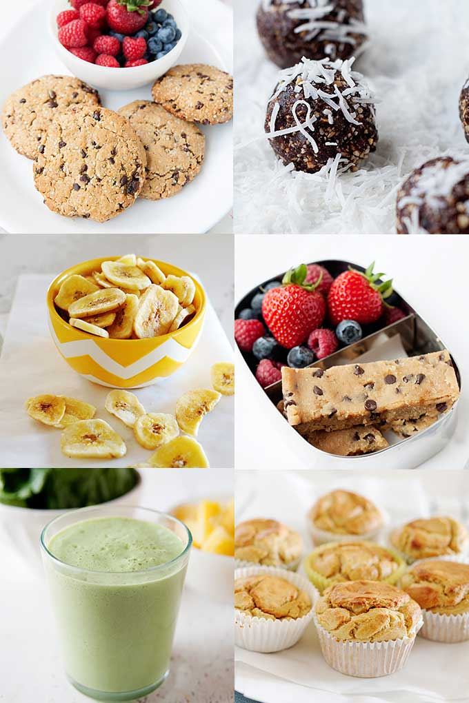 collage of clean eating snacks