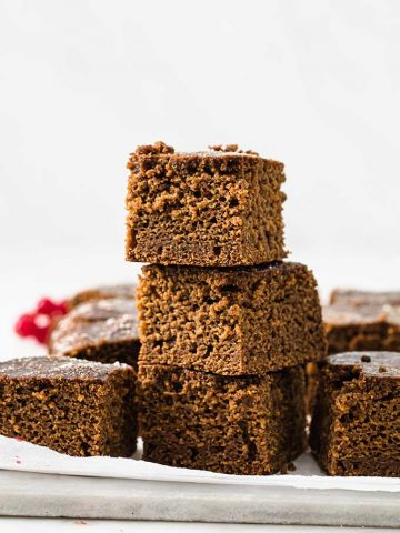 stacked slices of gingerbread cake