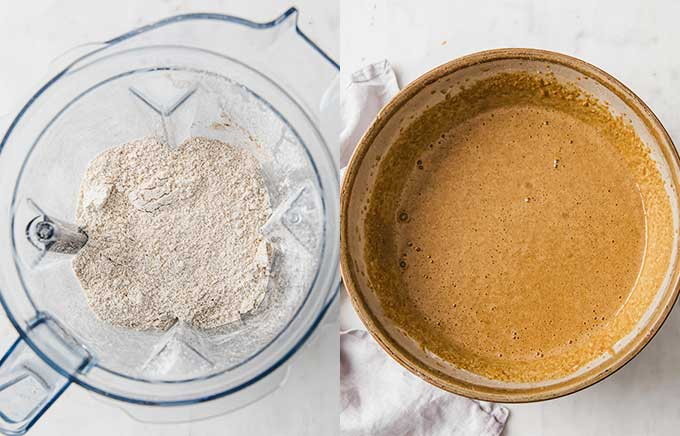 side by side photo of flour in a blender and cake batter in a bowl