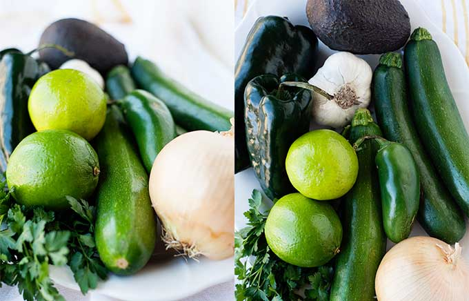 side by side images of vegetables for chili