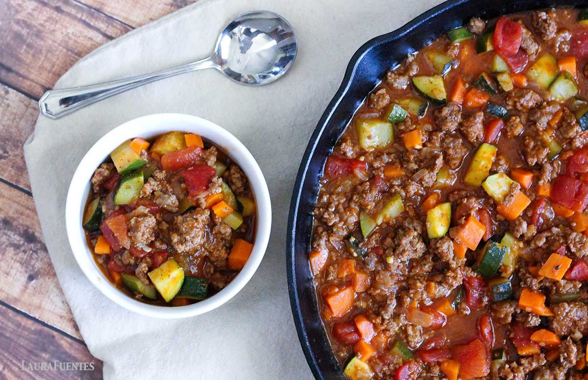 low carb chili in a skillet and bowl