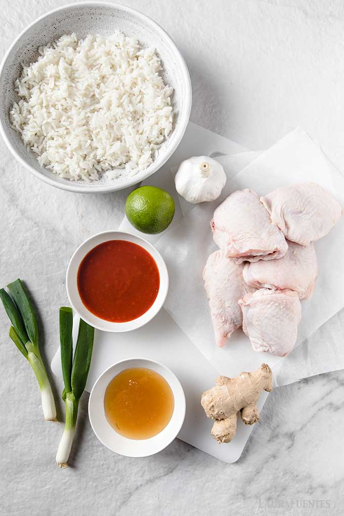 ingredients for sriracha chicken laid out on countertop