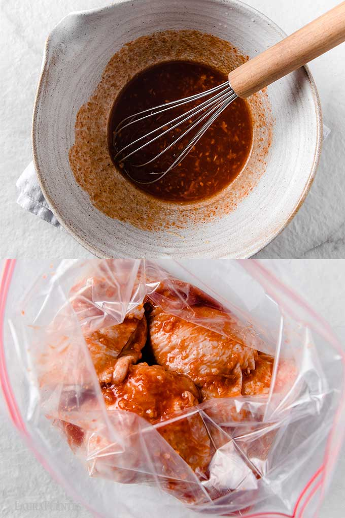 chicken thighs marinating in a bag with bowl of marinade to the side