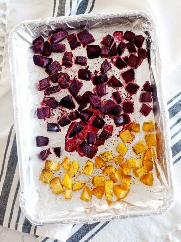 roasted beets on a sheet pan