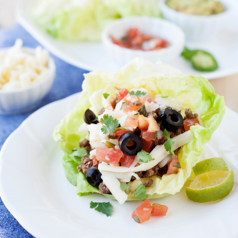 lettuce cups filled with taco meat