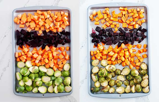 vegetables before and after roasting on pans